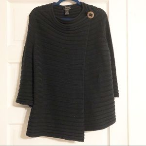 Pure Handknit Black Wrap Sweater L/XL EUC